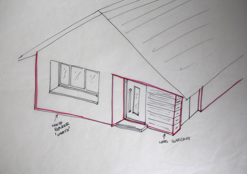 Front Elevation Cladding : Initial ideas and sketches design biscuits